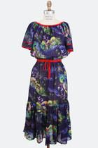 Vintage 70s FLORAL Print DRESS / 1970s Bohemian Flutter Sleeve Midi, m