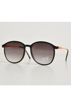 Vintage 90s Round Black & Orange Sunglasses Shades