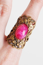 Vintage 60s 70s Pink Cabochon Ring Brass Cigar Band 