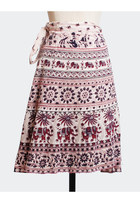 Vintage 70s Bohemian ELEPHANT Print WRAP SKIRT / Ethnic Indian Cotton Skirt
