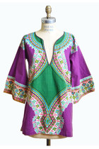 Vintage 70s DASHIKI Tunic Blouse / Ethnic Soft Cotton Pointed Sleeve TOP