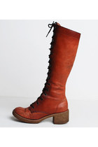 RESERVED...60s 70s Tall Lace Up BOOTS / Honey BROWN Knee High Boots, 7 37
