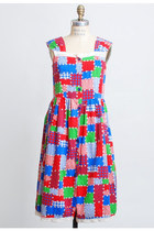 Vintage 70s Multi-colored Calico Patchwork Dress
