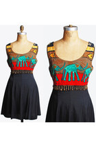 Vintage 90s Batik ELEPHANT Dress, Empire Waist Mini, m