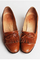 70s LEATHER Kiltie LOAFERS / Boho Golden Brown Shoes, 6.5 36.5