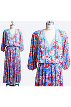 Vintage 80s DIANE FREIS DRESS / Bold Floral Stripe Print Dress, s m