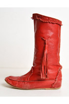 Vintage 70s Boho MOCCASINS / 1970s Woven RED LEATHER Tassel Boots, 8 38