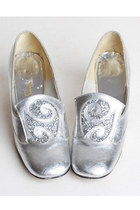 60s MOD Silver Loafers / Glitter Buckle Pumps / 1960s Shoes, 5 35