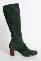 Vintage 60s 70s Tall GoGo BOOTS / GREEN Suede Knee High Boots, 8 38