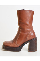 Vintage 90s Platform Boots / 1990s Steve Madden Brown Leather 6 36