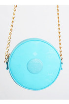 Vintage 80s 90s MCM Candy Blue Tambourine Shoulder Bag