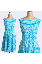 Vintage 1950s Dress - Blue Floral Print Cotton 50s Day Dress, M