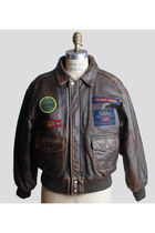 Vintage 90s Brown Leather Gap Patch Bomber Jacket