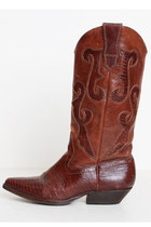 Size 5 1/2 Vintage 90s Brown Leather Lizard Cowboy Boots 35.5