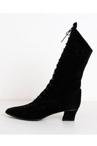 Size 9 Vintage 90s Black Suede Lace Up Witch Boots 40