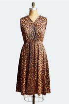 Vintage 60s LEOPARD Print DRESS / 1960s Loose Fit Draped Mini, m