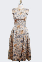 Vintage 50s Dress / Brown Marbleized Printed Silk Bow Party Dress, xs s