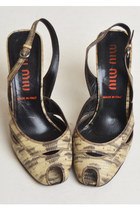 Vintage 90s MIU MIU Python Ankle Strap Heels / 1990s Peep Toe Heels 8 38