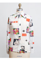 Vintage MOD 70s DISCO SHIRT / Abstract Flower Print Top, xs s
