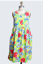 Vintage 90s Floral Babydoll DRESS / 1990s Daisy Print Mini, xs