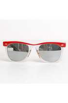 80s 90s Red Clear Acrylic Mirrored Sunglasses Shades