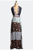 Vintage 70s Patchwork MAXI DRESS / Plunging Neckline Backless Wrap Halter Gown,