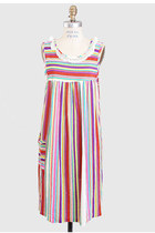 Vintage 70s MOD Pastel Candy Rainbow Stripe Dress  Ask a Question