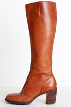 Size 7 Vintage 70s Brown Leather Knee High Boots 37