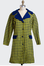 Vintage 60s 70s Yellow & Navy Plaid Knit Dress