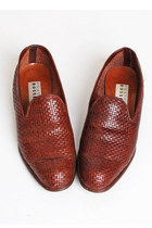 Size 7 Vintage 90s Brown Woven Leather Loafers 37