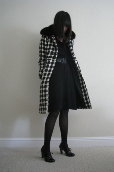 VIOLA dress - milly coat - Paloma Picasso belt - delman shoes - Express tights