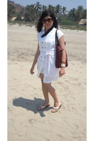 linen white Forever 21 dress