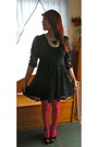 Navy-lace-forever-21-dress-hot-pink-nylon-charlotte-russe-tights