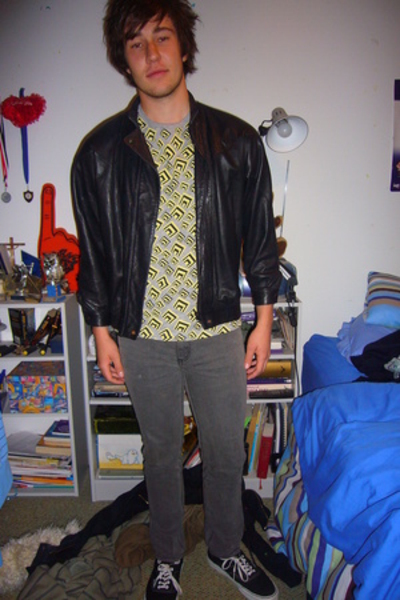 op-shop jacket - Cheap Monday jeans - Vans shoes - by liz haha