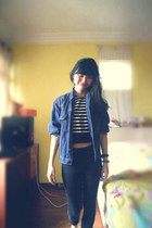 navy denim thrifted jacket - cropped striped chatuchak top