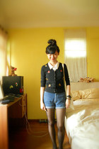 black cardigan - blue high-waisted shorts - white white button up Mango top