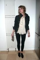 Diesel jacket - vintage blouse - Topshop leggings - allsaints purse - allsaints