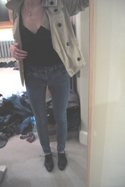 Avant premiere jacket - vintage vest - allsaints shoes - Topshop jeans