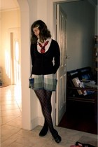 green cotton on skirt - shoes - stockings - cardigan