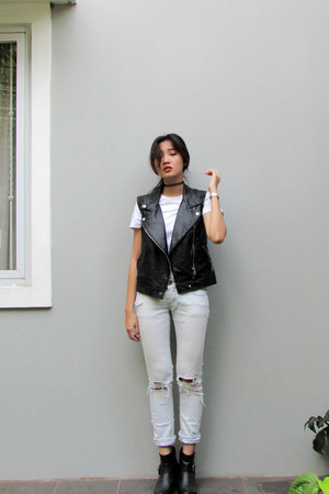 black leather Zalora vest - black H&M boots - light blue denim DIY pants