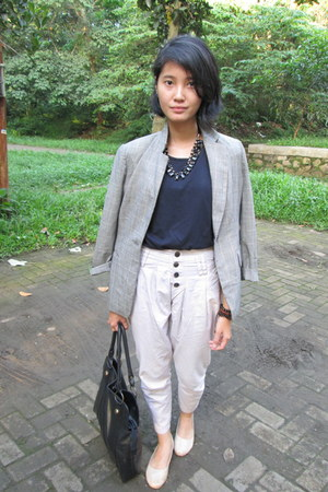 heather gray unbranded blazer - black kandang sapi buntal bag