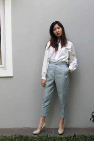 white mandarin collar unbranded shirt - sky blue petite cupcakes pants