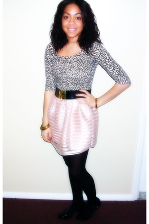 pink H&M dress - brown Forever 21 cardigan - black Forever 21 tights - black For