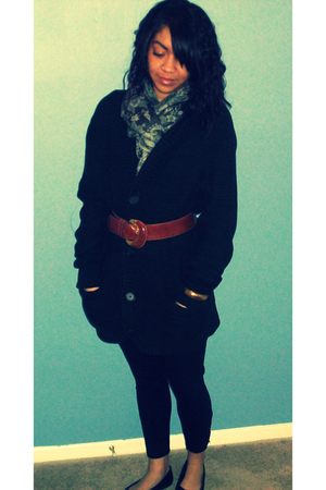 green H&M cardigan - brown Furla belt - black Threads 4 Thought leggings - black