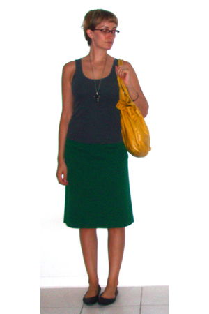 green vintage skirt - gray vintage top - black Target shoes - silver Etsy neckla