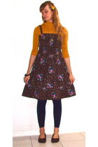 gold Forever 21 sweater - brown vintage dress - brown Target shoes - blue Americ
