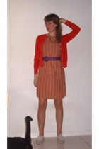orange - orange Cream dress - white Keds shoes - purple vintage belt - orange vi