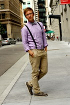 light purple long-sleeved American Apparel shirt