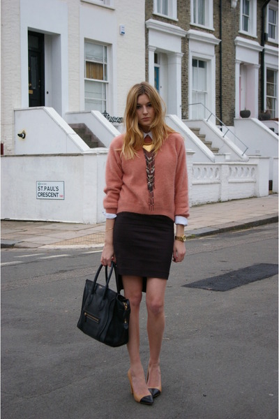 pencil skirt Zara skirt - tote Celine bag - angora knit H&M jumper