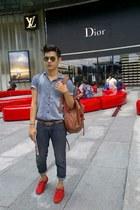 Local made shoes - FLO Fashion jeans - Topman shirt - Ray Ban sunglasses